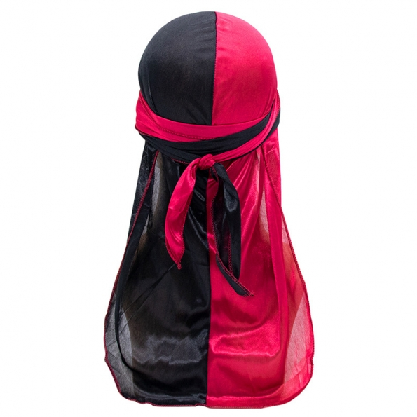 Silk Durag Black Red Mixed Colors