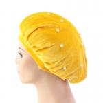 Velvet Bonnet Solid Color Beads Yellow
